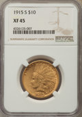 Indian Eagles: , 1915-S $10 XF45 NGC. NGC Census: (14/412). PCGS Population: (12/374). Mintage 59,000. ...