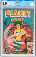 Golden Age (1938-1955):Science Fiction, Planet Comics #49 Double Cover (Fiction House, 1947) CGC VF 8.0Off-white pages....