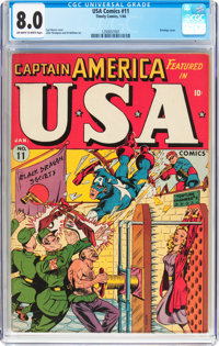 USA Comics #11 (Timely, 1944) CGC VF 8.0 Off-white to white pages