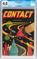 Golden Age (1938-1955):Science Fiction, Contact Comics #12 (Aviation Press, 1946) CGC VG 4.0 Off-white towhite pages....