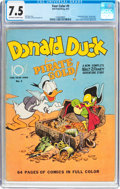 Golden Age (1938-1955):Cartoon Character, Four Color #9 Donald Duck (Dell, 1942) CGC VF- 7.5 Off-white to white pages....