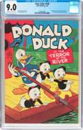 Golden Age (1938-1955):Cartoon Character, Four Color #108 Donald Duck (Dell, 1946) CGC VF/NM 9.0 Off-white to white pages....