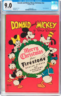 Golden Age (1938-1955):Cartoon Character, Donald and Mickey Merry Christmas 1946 (K. K. Publications, Inc.,1946) CGC VF/NM 9.0 Off-white to white pages....