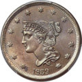 Large Cents, 1839 1C Petite Head of 1840, N-8, R.1, MS64 Brown PCGS. CAC....