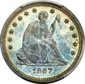 Proof Seated Quarters, 1867 25C PR66+ PCGS. CAC....
