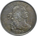 Half Cents, 1804 1/2 C Crosslet 4, Stems, C-10, B-9, R.1 -- Double Struck in Collar, Close Overlap -- AU53 PCGS....