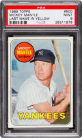 Baseball Cards:Singles (1960-1969), 1969 Topps Mickey Mantle (Yellow Letters) #500 PSA Mint 9....