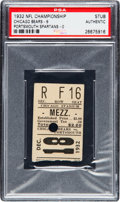 Football Collectibles:Tickets, 1932 NFL Championship Game Ticket Stub from The Joe Carr Collection, PSA Authentic....