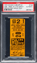 Baseball Cards:Singles (1960-1969), 1916 Chicago Cubs First Game at Weeghman Park (Wrigley Field)Ticket Stub, PSA Authentic--The Only Known Example....