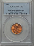 Lincoln Cents, 1980 1C MS67 Red PCGS. Ex: Ron Bozarth Collection. PCGS Population: (82/1). NGC Census: (30/0). ...