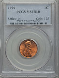 Lincoln Cents, 1975 1C MS67 Red PCGS. PCGS Population: (86/0). NGC Census: (31/0). ...