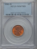 Lincoln Cents, 1981-D 1C MS67 Red PCGS. PCGS Population: (58/0). ...