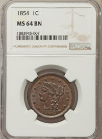 1854 1C MS64 Brown NGC. NGC Census: (114/109). PCGS Population: (140/58). CDN: $345 Whsle. Bid for problem-free NGC/PCGS...