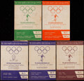 Olympic Collectibles:Autographs, 1952 Helsinki Olympics Programs Lot of 5....
