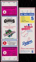Baseball Collectibles:Tickets, 1981 & 1989 MLB World Series Ticket Stub & Full Ticket (2)....