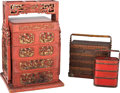 Asian:Chinese, Three Chinese Stacking Wedding Boxes. 28 h x 18-1/4 w x 16 d inches(71.1 x 46.4 x 40.6 cm) (largest). PROPERTY FROM THE E... (Total: 3Items)