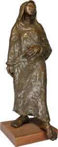 Sculpture, Shirley Thompson Smith (American, b. 1929). Woman with One Foot Forward, 1988. Bronze with brown patina. 24 inches (61.0...