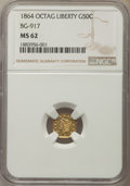 California Fractional Gold , 1864 50C Liberty Octagonal 50 Cents, BG-917, R.4, MS62 NGC. NGCCensus: (5/1). PCGS Population: (21/9). ...