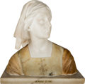 Decorative Arts, Continental, A Carrera and Specimen Marble Bust of Joan of Arc, attributed toGiovanni Briogi (Italian, 1853-1919). Incised to reverse: ...