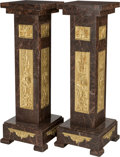Furniture : Continental, Two Rouge Marble and Gilt Bronze-Mounted Pedestals, 21st century.44-5/8 h x 14-1/4 w x 14-1/4 d inches (113.3 x 36.2 x 36.2...(Total: 2 Items)