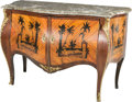 Furniture : French, A Louis XV-Style Bombe-Form Commode with Chinoiserie MarquetryMotif, 20th century. 34-1/4 h x 51-1/4 w x 24-3/4 d inches (8...(Total: 2 Items)