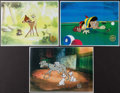 Non-Sport Cards:Singles (Pre-1950), Walt Disney Cartoon Serigraphs Lot of 3. ...