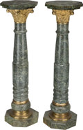 Decorative Arts, Continental, A Pair of Neoclassical Variegated Marble and Brass-Mounted Columns,20th century. 47-1/4 inches (120.0 cm). ... (Total: 2 Items)