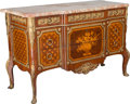 Furniture : French, A French Louis XVI-Style Mahogany and Kingwood Marquetry Commodewith Marble Top, early 20th century. 33-3/4 h x 51-5/8 w x ...