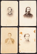 Photography:CDVs, [Civil War]. Four Cartes de Visite of Union Soldiers and a Prayer Card. ... (Total: 4 Items)