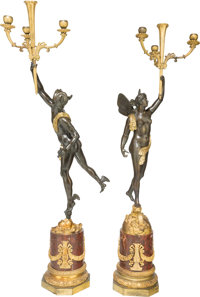 A Large Pair of Gilt and Patinated Bronze Four-Light Figural Candelabra after Giambologna, late 19th century 40 in