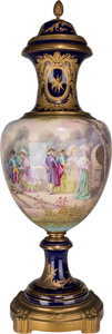Ceramics & Porcelain, A Large Sevres-Style Painted and Gilt Covered Porcelain Urn. Marks to urn lid: (pseudo-Sevres marks). Marks to cartouche: ...