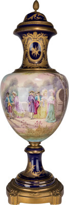 A Large Sevres-Style Painted and Gilt Covered Porcelain Urn Marks to urn lid: (pseudo-Sevres marks) Marks to ca