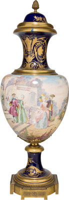 A Large Sevres-Style Painted and Gilt Porcelain Covered Urn, early 20th century Mark to body: C. VELLY<