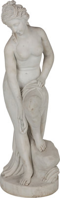 A Carved Marble Figure of a Roman Woman Bathing 31 x 11 x 12 inches (78.7 x 27.9 x 30.5 cm)