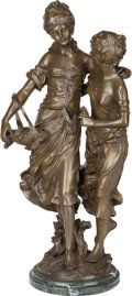 Paintings, A Bronze Figural Group of Two Maidens Gathering Flowers. After Auguste Louis Moreau (French, 1834-1917), late 20th century. ...