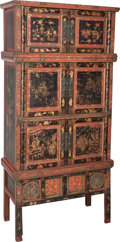 Asian:Chinese, A Tall Chinese Painted and Partial Gilt Wedding Chest, 20thcentury. 86-1/2 h x 41-1/4 w x 17-1/2 d inches (219.7 x 104.8 x ...(Total: 2 Items)