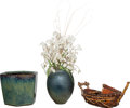 Decorative Arts, Continental, Three Decorative Pieces: Vase, Glazed Planter, Bamboo Boat,20th century. 13 inches high (33.0 cm) (tallest). PROP... (Total: 3Items)