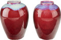 Asian:Chinese, A Pair of Chinese Flambé Glazed Ceramic Vases. 19-1/4 inches high(48.9 cm). ... (Total: 2 Items)