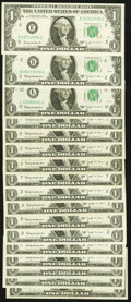 A Varied Assortment of Seventeen Fr. 1902 $1 1963B Federal Reserve Notes. Very Fine or Better
