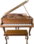 Furniture , A Steinway & Sons Chippendale-Style Model M Grand Piano, 20th century. Marks to harp: SERIES M 518701; W0597... (Total: 2 Items)