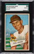 Football Cards:Singles (1950-1959), 1952 Bowman Large Paul Brown #14 SGC 88 NM/MT 8 - Pop One, One Higher....