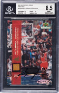 Basketball Cards:Singles (1980-Now), 2000 Upper Deck Michael Jordan Final Shot #1A Beckett NM-MT+ 8.5 Oversized Game Used Finals Floor, With Autograph - Hand Numbe...