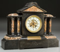 Timepieces:Clocks, An A.D. Mougin Marble and Slate Temple-Form Freemasons Presentation Mantle Clock, late 19th century. Marks clock mechanism: ...