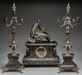 Timepieces:Clocks, A French Renaissance Revival Patinated Bronze and Slate Clock Garniture, late 19th century. Marks to clock face: CO ANONYM... (Total: 3 Items)