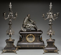 A French Renaissance Revival Patinated Bronze and Slate Clock Garniture, late 19th century Marks to clock face: CO ANONY...