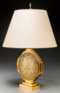 Decorative Arts, Continental:Lamps & Lighting, A Gilt Bronze and Champlevé Enameled Table Lamp, 20th century.18-3/4 inches high (47.6 cm) (overall). ... (Total: 2 Items)