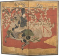 Asian:Japanese, A Japanese Paper Two-Panel Screen: Nobleman on Horseback ,Edo Period (1603-1868). 67-3/4 x 74-1/2 inches (172.1...
