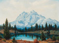 Texas:Early Texas Art - Regionalists, Dwight Clay Holmes (American, 1900-1986). Signal Peaks, GrandTeton. Oil on canvas board. 18 x 24 inches (45.7 x 61.0 cm...