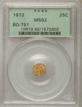 California Fractional Gold , 1872 25C Indian Octagonal 25 Cents, BG-791, R.3, MS62 PCGS. PCGSPopulation: (44/193). NGC Census: (12/58). ...