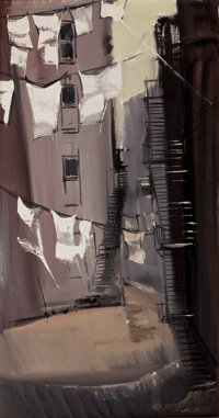 JACK FOOTE (American, 20th Century) Abstract Buildings Acrylic on canvas 38 x 20 inches (96.5 x 5